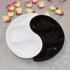 4 Sets 3 Compartment Plastic Tray in 2 parts - Sweets & Dips Yin Yang Partyware