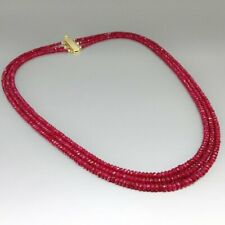 """Designer Natural Precious Ruby Faceted Gemstone Cut Beads 18"""" 3 Strand Necklace"""