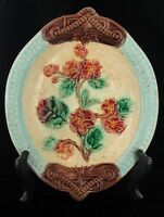 """ANTIQUE MAJOLICA WILD ROSES FLORAL SERVING BOWL DISH GRIFFIN SMITH & HILL 9"""""""