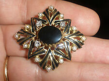 Antique Victorian MOURNING BROOCH 14K Gold ENAMEL BLACK JET  DIAMONDS PEARLS