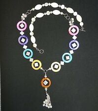 "CF146 ""Ocean's Delight"" Mother of Pearl Shell Bead & Silver 36"" Necklace"