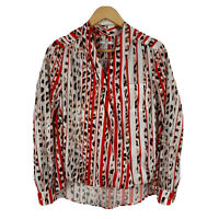 Asilio Womens Top Size 8 Multicoloured Animal Print Striped Long Sleeve V-Neck