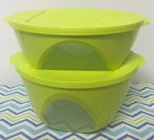 Tupperware Impressions Bowls w/ Windows Set Of Two 10 and 18 Cups Lime Green New