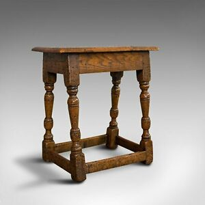 Small Antique Joint Stool, Oak, Seat, Side Table, Jacobean Revival, Victorian