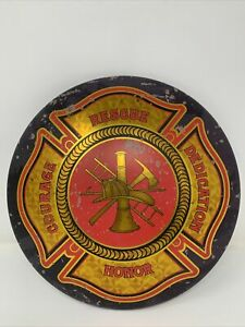 """Fire and Rescue Firefighter 12"""" Round Metal Sign Novelty Fire Dept Fireman Decor"""