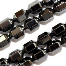 MAGNETIC HEMATITE BEADS 18 FACET CYLINDER 6X8MM HEXAGON BEAD STRAND MH17