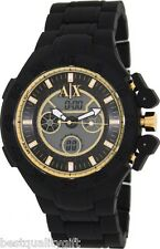 NEW ARMANI EXCHANGE BLACK SILICONE,GOLD,DIGITAL,ANALOG,DUAL TIME,WATCH AX1194