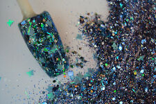 glitter mix acrylic gel nail art   MAGIC BUTTERFLY