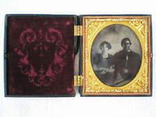 Antique Rare Ambrotype Tin Type Man & Woman Photo in a Union Gutta Percha Case