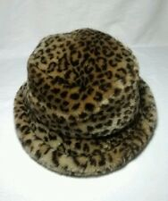 BETMAR New York Women's Black Leopard Chenille Animal Print Faux Fur Hat Vtg