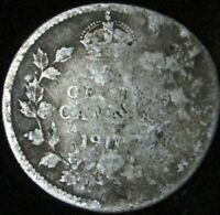 1901 VG Details Damaged Canada Silver 5 Cents - KM# 2
