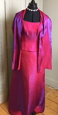 Yve London Ladies Evening Party Gown 2 piece with Scarf Hot Pink Shimmer Size S
