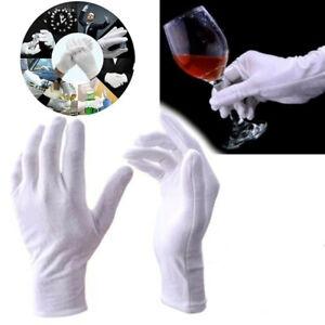 24-teilige weiße Baumwollhandschuhe Stoffhandschuhe Bequem und atmungsaktiv