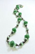 Vintage Green with Green Flowers Lampwork Art Glass Bead Necklace Jn20Bn19