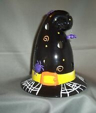Halloween Witch Hat Spider Multi-color Ceramic Votive Candle Holder NEW