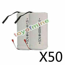 100 Sub C SubC With Tab 6000mAh 1.2V Ni-MH Rechargeable Battery White High Power
