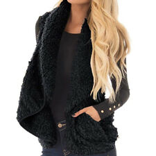 Women's Teddy Fleece Waistcoat Gilet Winter Faux Fur Vest Coat Jacket Cardigan