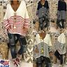 Women Long Sleeve Stripe V Neck Casual Loose Pullover Jumper Blouse Tunic Top US