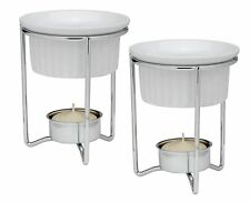 HIC Brands that Cook White Ceramic Butter Warmers with Tealight Stand, Set of 2