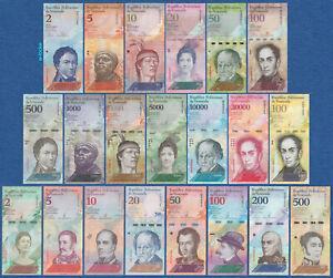 VENEZUELA Set 21 Banknoten 2 bis 100000 Bolivares Inflation 2007-2018 UNC
