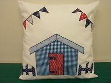 Beach Hut applique cushion cover, Bunting, rickety fence