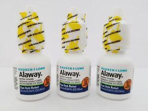 Bausch Lomb Alaway Allergy Eye Relief Drops Antihistamine 10mL 3PK Exp 2/22+