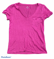 Woman's J.CREW Pink 100% Linen Shirt Top Blouse Short Sleeve Size Small S