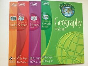 4 Letts Key Stage 2 Revision books Geography history English & science h