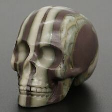 "2"" AAA 100% Natural Wood Stripes Jasper Crystal Healing Carved Stone Human Skull"