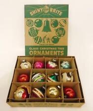 Vintage Shiny Brite ornaments, box of 12, indents, fancies, glitter