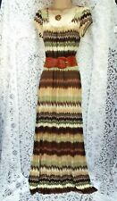 REDHERRING 70s Style Maxi Dress with Wide Belt   Brown/Green/Cream  SIZE 10