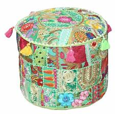 """Indian Ottoman Pouf Round Floor Footstool Cover Patchwork Cotton 22"""" Pouf Cover"""