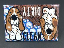 Basset Hound Dog Clean Dirty Dishwasher Magnet Handmade Kitchen Cleaning Tools