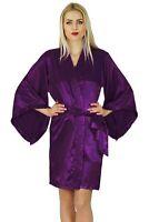 Bimba femmes Kimono ? manches courtes en satin Robe Pr?paration-xBR