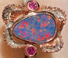 Estate Natural Australian Opal Gold fire Black Rose RUBY Ring 7.5 Ladies FERN