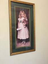 Home Interiors Picture The Love Letter Girl With Letter Flowers Gold Frame