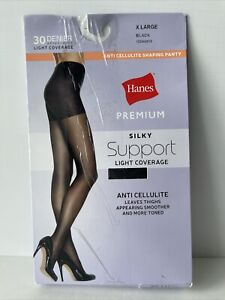 Hanes Premium Silky Support Size XL Anti Cellulite Shaping Panty Black
