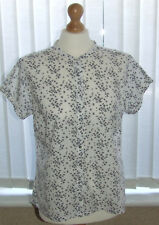 ❤ Ladies Navy & White Print Blouse Shirt Size 16