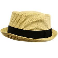 Men's Cool Summer Straw Pork Pie Derby Fedora Upturn Brim Hat