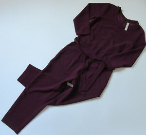 NWT Madewell Sloan Jumper in Dark Cabernet Burgundy Belted Crepe Jumpsuit 2