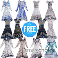 Girls Pattern Dress Flower Princess Sleeveless Formal Maxi Multiple Designs