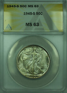 1945-S Walking Liberty Silver Half Dollar 50c Coin ANACS MS-63