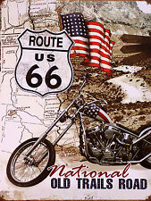 ROUTE 66, Retro Alluminio Metallo Segno Vintage Moto USA