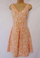 BNWT NEXT Ladies neon orange white skater summer sun casual smart knee dress