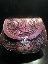 100% new genuine mexican latigo leather Hand Tooled, embroidered vintage Purse