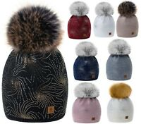Women Ladies Winter Beanie Hat Hats Knitted Fireworks Design Pom Pom Hot Fleece