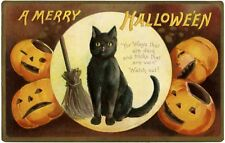 8x10 Vintage A Merry Halloween Black Cat and Jack-o-Lanterns Craft Fabric Block