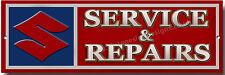 SUZUKI SERVICE & REPAIRS METAL SIGN.CLASSIC SUZUKI MOTORCYCLES.GARAGE SIGN