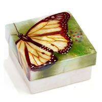 Yellow Butterfly Capiz Jewelry Trinket Keepsake Box Container New