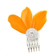 Orange Fascinator À Plumes Peigne À Cheveux Argent Art Déco Diamant 1920s